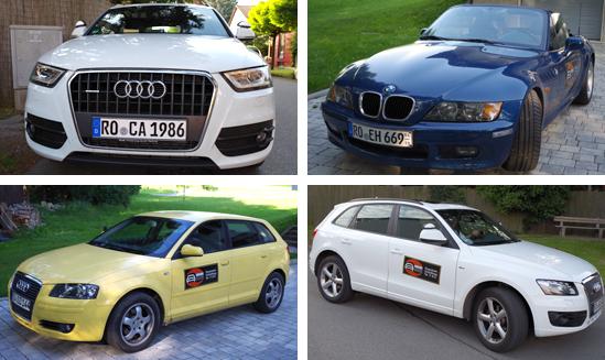 Freude am Fahren lernen mit den Autos der Fahrschule Holewa in Rosenheim und Schloßberg zur praktischen Fahrausbildung - Audi Q5, Q4 und A3 sowie BMW Z3