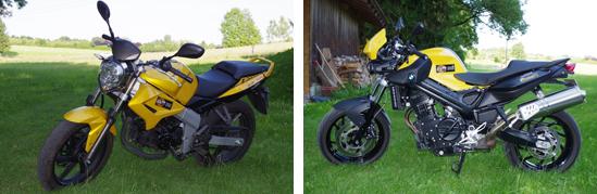 In der Fahrschule Holewa, Rosenheim und Stephanskirchen-Schloßberg stehen zur praktischen Ausbildung für den Motorrad-Führerschein der Klassen A und A1 eine BMW F800R und eine Kymko Quannon 125 zur Verfügung